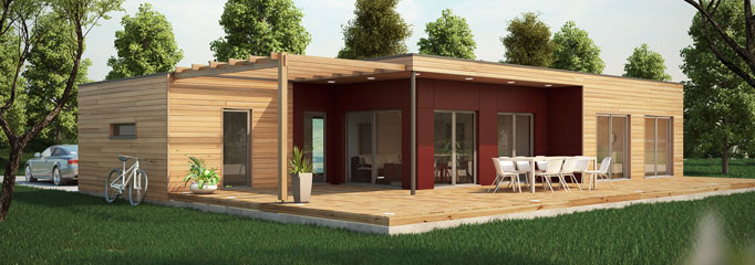 Maison ossature bois contemporaine t4 plain pied 91m2 for Constructeur maison bois contemporaine